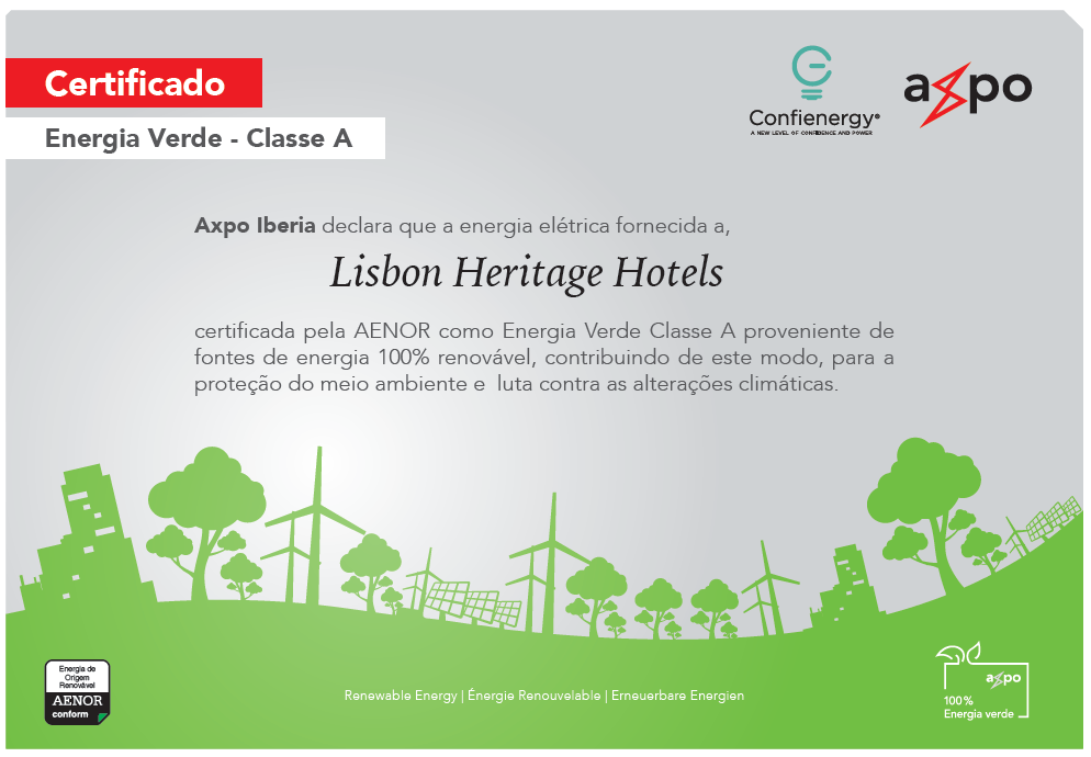 Lisbon Heritage Hotels uses electricity from 100% renewable energy sources